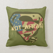 Superman S-Shield   Not Afraid Logo Throw Pillow