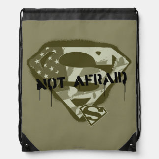 Superman S-Shield   Not Afraid - US Camo Logo Drawstring Backpack