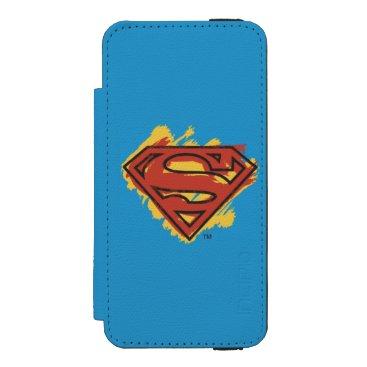Superman S-Shield | Painted Blue Background Logo iPhone SE/5/5s Wallet Case