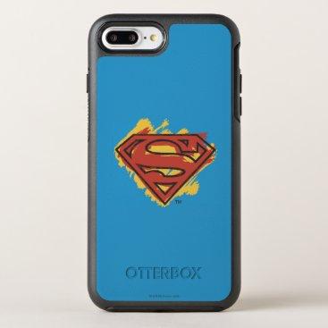Superman S-Shield | Painted Blue Background Logo OtterBox Symmetry iPhone 8 Plus/7 Plus Case