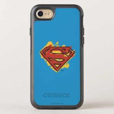 Superman S-Shield | Painted Blue Background Logo OtterBox Symmetry iPhone 8/7 Case