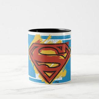Superman S-Shield   Painted Blue Background Logo Two-Tone Coffee Mug