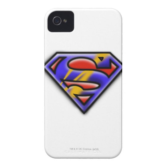 Superman S-Shield   Purple Airbrush Logo iPhone 4 Case