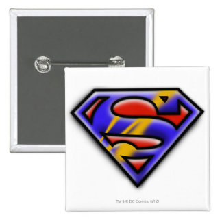 Superman S-Shield   Purple Airbrush Logo Pinback Button