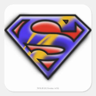 Superman S-Shield   Purple Airbrush Logo Square Sticker