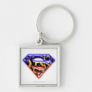 Superman S-Shield   Purple-Red Graffiti Logo Keychain
