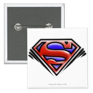 Superman S-Shield   Red Airbrush Logo Pinback Button