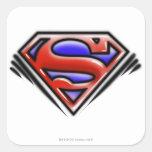 Superman S-Shield | Red Airbrush Logo Square Sticker