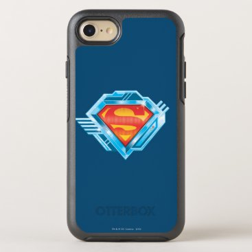 Superman S-Shield | Red and Blue Metal Logo OtterBox Symmetry iPhone 8/7 Case