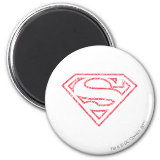Superman S-Shield | Red Outline Logo 2 Inch Round Magnet