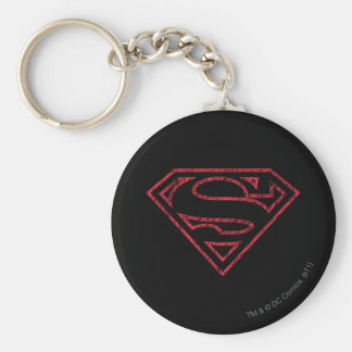 Superman S-Shield   Red Outline Logo Keychain