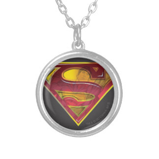 Superman S-Shield | Reflection Logo Round Pendant Necklace