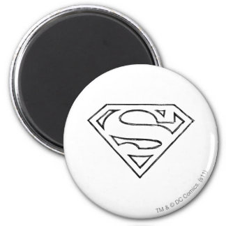 Superman S-Shield | Simple Black Outline Logo 2 Inch Round Magnet