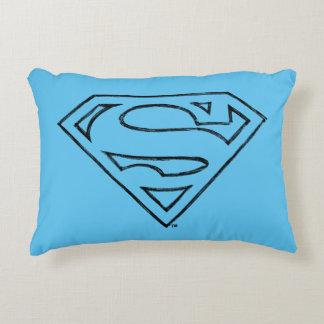 Superman S-Shield | Simple Black Outline Logo Accent Pillow
