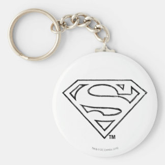 Superman S-Shield | Simple Black Outline Logo Basic Round Button Keychain