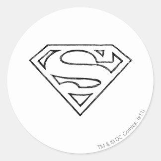 Superman S-Shield | Simple Black Outline Logo Classic Round Sticker