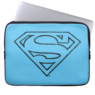 Superman S-Shield | Simple Black Outline Logo Computer Sleeve