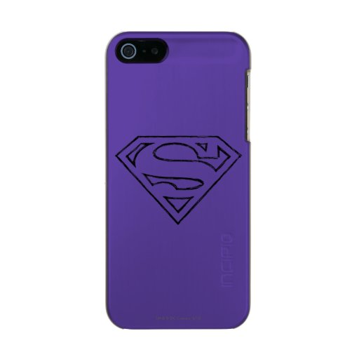 Superman S-Shield | Simple Black Outline Logo Metallic Phone Case For iPhone SE/5/5s