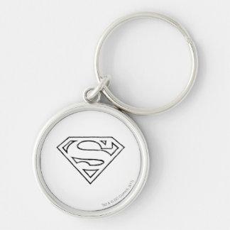 Superman S-Shield   Simple Black Outline Logo Keychain