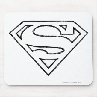 Superman S-Shield | Simple Black Outline Logo Mouse Pad