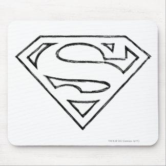 Superman S-Shield | Simple Black Outline Logo Mouse Pad