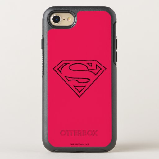 Superman S-Shield | Simple Black Outline Logo OtterBox Symmetry iPhone SE/8/7 Case
