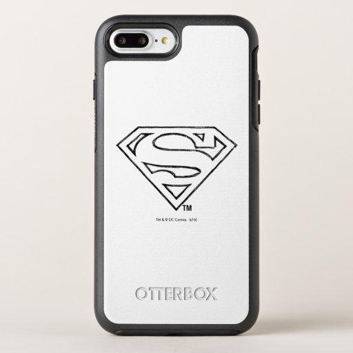 Superman S-Shield | Simple Black Outline Logo OtterBox Symmetry iPhone 8 Plus/7 Plus Case