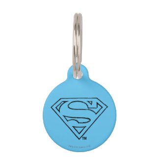 Superman S-Shield   Simple Black Outline Logo Pet Tag