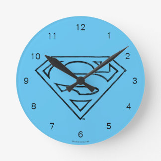 Superman S-Shield | Simple Black Outline Logo Round Clock
