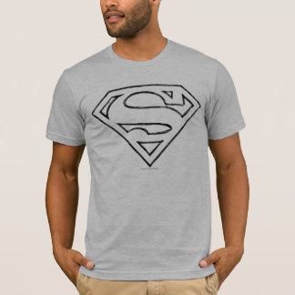 Superman S Shield | Simple Black Outline Logo T Shirt
