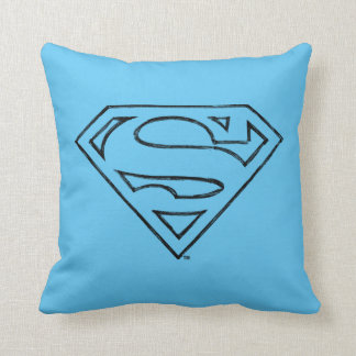 Superman S-Shield | Simple Black Outline Logo Throw Pillow