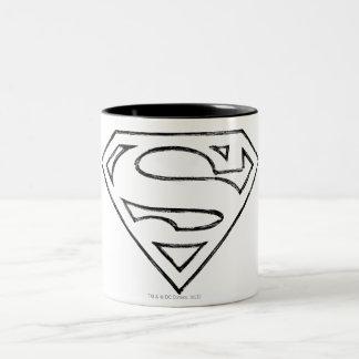 Superman S-Shield   Simple Black Outline Logo Two-Tone Coffee Mug