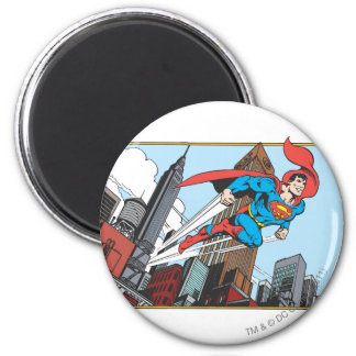 Superman & Skyscrapers 2 Inch Round Magnet