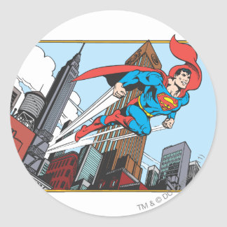 Superman & Skyscrapers Classic Round Sticker