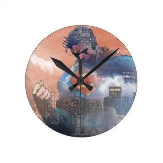 Superman Standing Round Clock