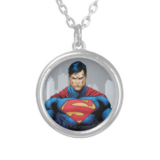 Superman Standing Silver Plated Necklace