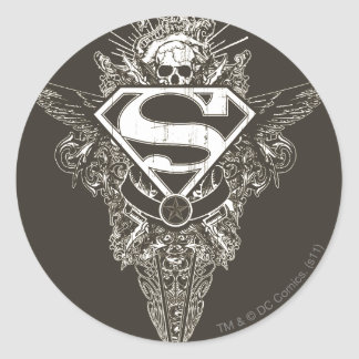 Superman,  Star and Skull Round Sticker
