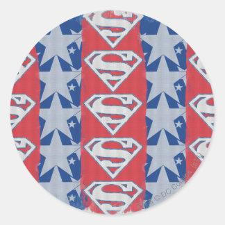 Superman Stars and Logo Classic Round Sticker