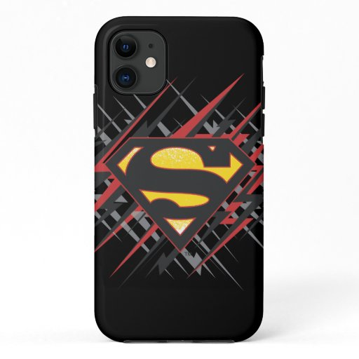 Superman Stylized | Black and Red Strikes Logo iPhone 11 Case