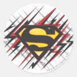 Superman Stylized | Black and Red Strikes Logo Classic Round Sticker