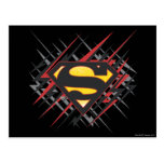 Superman Stylized | Black and Red Strikes Logo Postcard