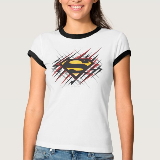 Superman Stylized | Black and Red Strikes Logo T-Shirt