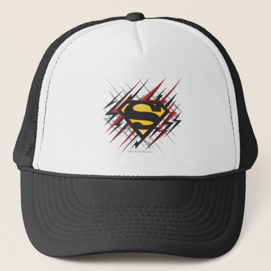 Superman Stylized   Black and Red Strikes Logo Trucker Hat