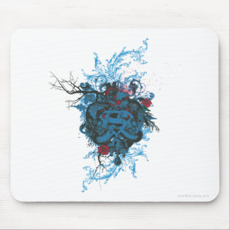 Superman Stylized | Blue Heart Red Logo Mouse Pad