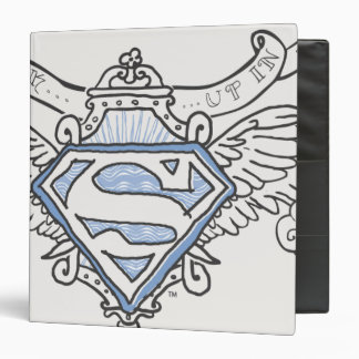 Superman Stylized | Blue Outline Wings Logo 3 Ring Binder