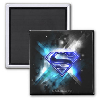 Superman Stylized | Blue White Crystal Logo 2 Inch Square Magnet