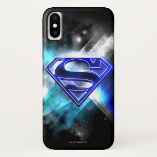 Superman Stylized | Blue White Crystal Logo iPhone X Case