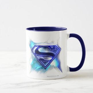 Superman Stylized   Blue White Crystal Logo Mug