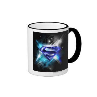 Superman Stylized | Blue White Crystal Logo Ringer Mug