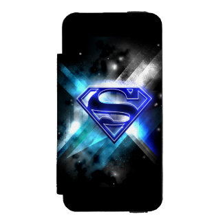 Superman Stylized | Blue White Crystal Logo Wallet Case For iPhone SE/5/5s